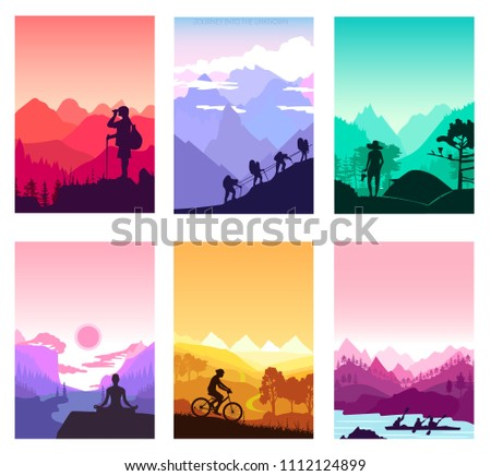 Sport rest day brochure cards set.  Tourism on nature template of flyear, magazines, poster, book cover, banners. Active lifestyle invitation concept background. Layout illustration modern