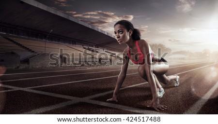 Sport. Runner on the start line #424517488