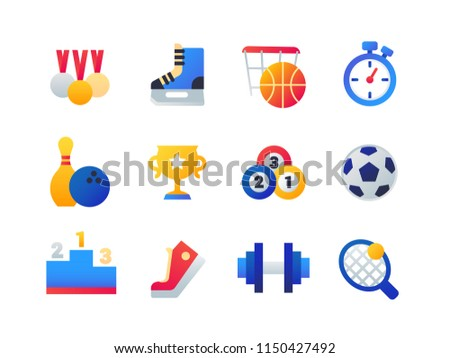 Sport - set of flat design style icons isolated on white background. Medals, skates, basketball, timer, bowling ball and pin, cup, billiard, football, podium, gumshoe, barbell, tennis racket