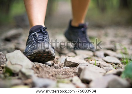 Sport shoes and exercise walking in summer, fitness concept. Jogging or training outside in summer nature, motivational health and inspirational idea.