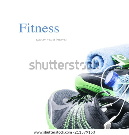 Sport shoes and gym accessories Fitness concept