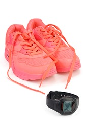 Sport shoes and sport watch on white background with Clipping path.