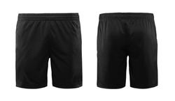 Sport shorts ,black color, front and back view isolated on white.