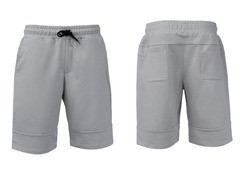 Sport shorts, front and back view isolated on white