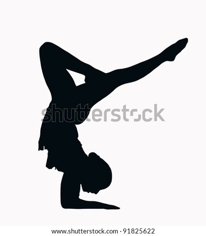 Sport Silhouette - Female Gymnast doing arm stand isolated black image on white background