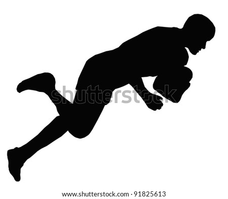 Sport Silhouette - Rugby Player Dives for Try Line to Score