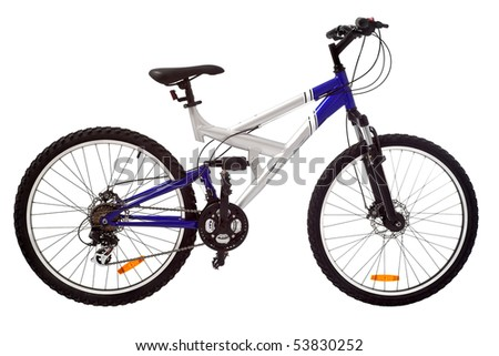 sport silver and blue bicycle isolated