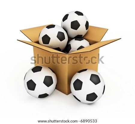 sport soccer balls in the box isolated 3d model illustration