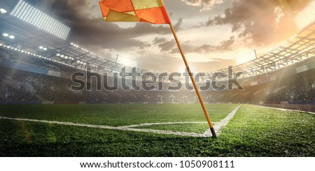 Sport. Soccer 3d render stadium. A Red flag at one corner of football stadium and soccer corner of a soccer field.