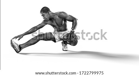 Sport. Sprinter doing stretching exercises and smiling on the floor. Isolated on white. ストックフォト ©