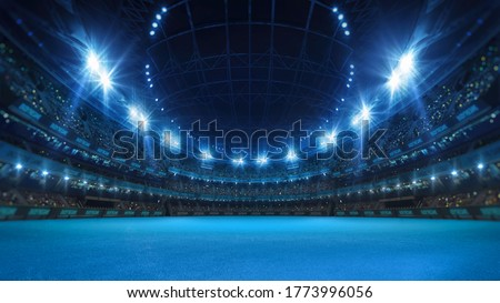 Sport stadium with grandstands full of fans, shining night lights and blue artificial surface. Digital 3D illustration of sport stadium for background use.