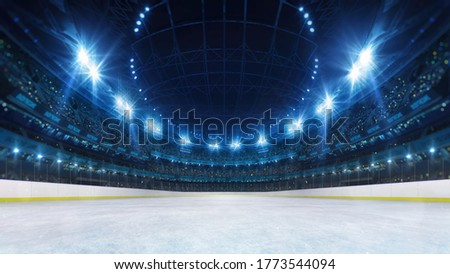 Sport stadium with grandstands full of fans, shining night lights and ice rink playground. Digital 3D illustration of sport stadium for background use.