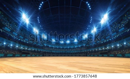Sport stadium with grandstands full of fans, shining night lights and wooden deck. Digital 3D illustration of sport stadium for background use. Сток-фото ©