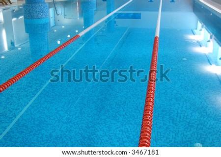sport Swimming Pool of 25 meters with Lanes witn blue water