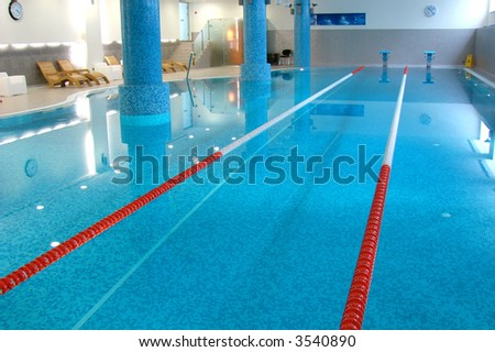Sport Swimming Pool Of 25 Meters With Lanes Witn Blue Water Stock Photo 3540890 Shutterstock