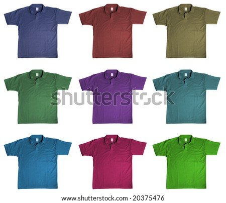 sport t-shirt in nine kinds of color, isolated on white background