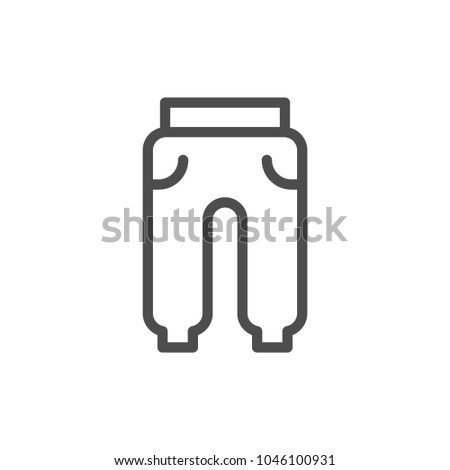 Sport trousers line icon isolated on white