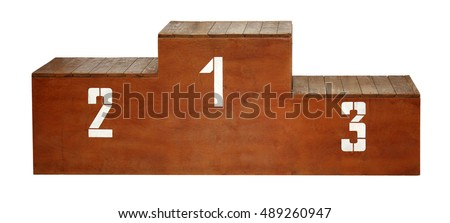 Sport. Wooden podium with white numbers on a white background. #489260947