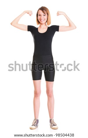 Sport Young woman in black doing exercise gymnastic pose isolated on white