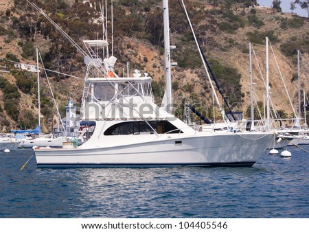 Sportfisher yacht moored at Avalon Harbor, Santa Catalina Island.  Starboard view