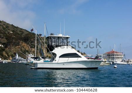 Sportfisher yacht moored at Avalon Harbor, Santa Catalina Island.  Starboard view