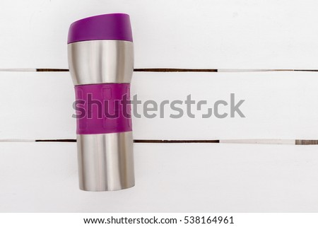 Sporting items on white background or lavender. Sport fashion, Sport accessories, Sport equipment. for healthy concept. metal tin with a meal. Sports nutrition. #538164961