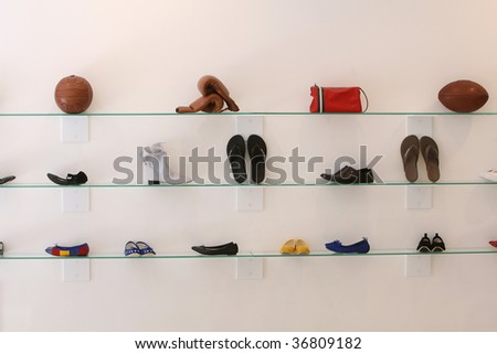 sports accessories hanging as display