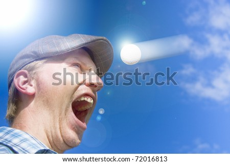 Sports Action Shot Of A Screaming Golfer Yelling Out In Horror At A Motioning Golf Ball Flying Directly At His Head In A Humor Sporting Conceptual - stock photo