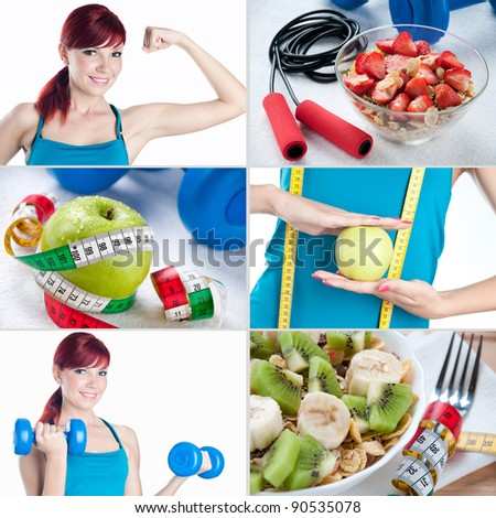 Sports and healthy eating collage