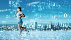 Sports and technology concept. Sports-tech. Wearable computing.