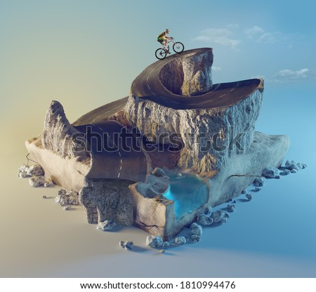 Sports and travel background. 3d illustration with cut of the ground and the desert road and the lake.