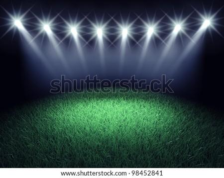Sports arena spotlights and turf , 3d illustration