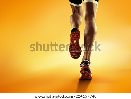 Sports background. Runner feet running closeup on shoe.