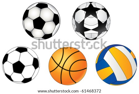 sports balls: football, volleyball, basketball