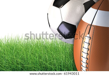 sports balls on a green grass, including an American football and a soccer ball