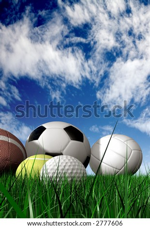 sports balls on the grass made in 3d