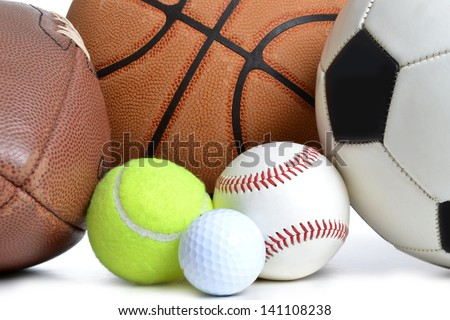 sports balls on white background
