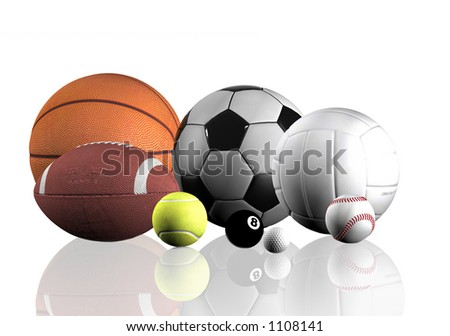 sports balls over a white background