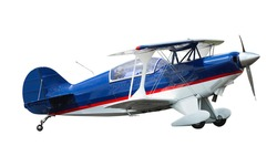 Sports biplane in motion isolated on white background.