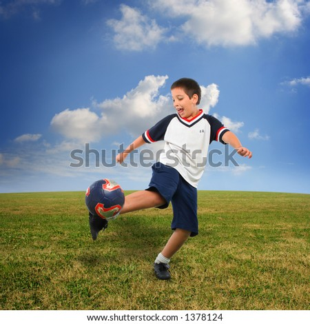 Sports. Boy playing soccer (ball on air). From my football series