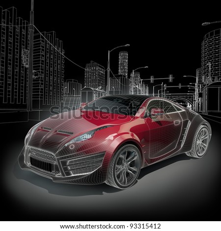 Sports car blueprint Original car design