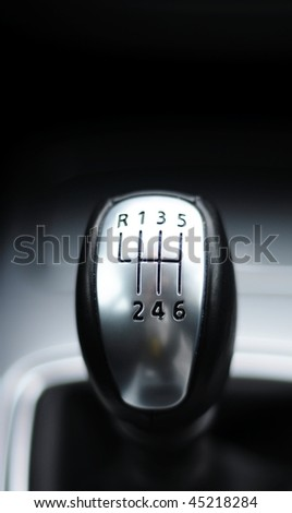 sports car gear shift stick with copyspace for text message
