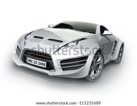 Sports car isolated on white background Non-branded concept car