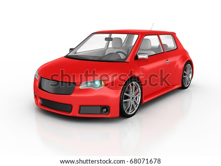 Sports car isolated on white. This is a detailed 3D render.
