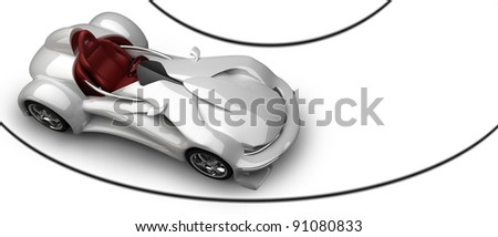 Sports car road-star isolated on white 3d render (No trademark issues as the car is my own design) High resolution