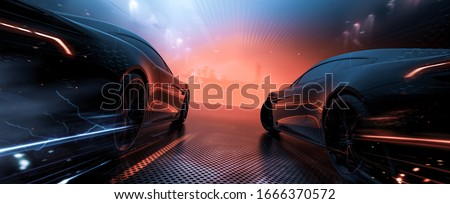 Sports cars racing, moving towards city - futuristic concept (with grunge and grain overlay) custom tail lights design - 3d illustration