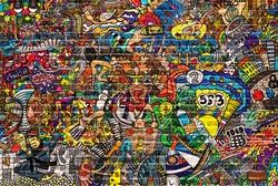 Sports collage on a large brick wall, graffiti