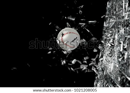 Sports concept background.Baseball.3d illustration.Baseball ball in motion breaking the glass.Concept of action and strength in team sport