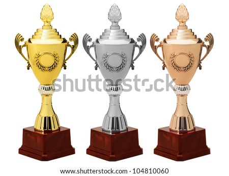 Sports Cup.Gold, silver and bronze. Isolated on white background