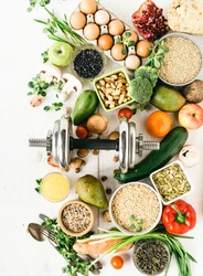 Sports Diet Nutrition for Athletes Top View on Raw Health Products